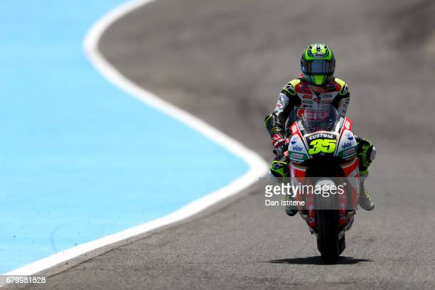 Cal Crutchlow of Great Britain and LCR Honda rides out to the grid before the MotoGP of Spain at Circuito de Jerez on May 7 2017 in Jerez de la...