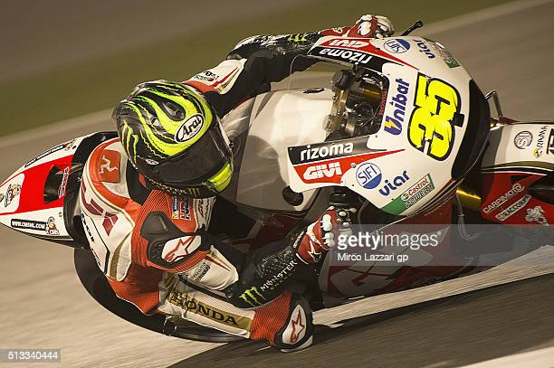 Cal Crutchlow of Great Britain and LCR Honda rounds the bend during the MotoGP Tests In Doha at Losail Circuit on March 2 2016 in Doha Qatar