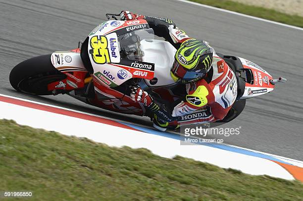 Cal Crutchlow of Great Britain and LCR Honda rounds the bend during the MotoGp of Czech Republic Free Practice at Brno Circuit on August 19 2016 in...