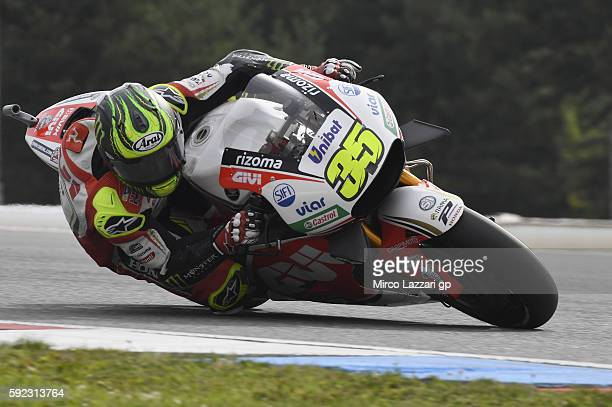 Cal Crutchlow of Great Britain and LCR Honda rounds the bend during the qualifying practice during the MotoGp of Czech Republic Qualifying at Brno...