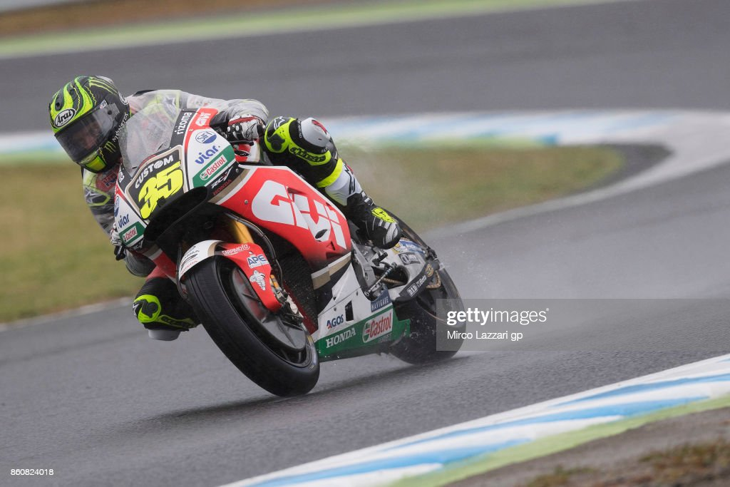 Cal Crutchlow of Great Britain and LCR Honda rounds the bend during the MotoGP of Japan - Free Practice at Twin Ring Motegi on October 13, 2017 in Motegi, Japan.