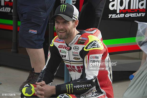 Cal Crutchlow of Great Britain and LCR Honda smiles before the official photo of the 2016 MotoGP riders during the MotoGp of Qatar Free Practice at...