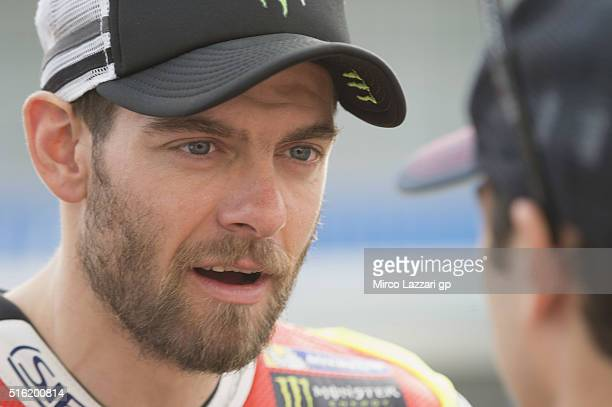 Cal Crutchlow of Great Britain and LCR Honda speaks before the official photo of the 2016 MotoGP riders during the MotoGp of Qatar Free Practice at...