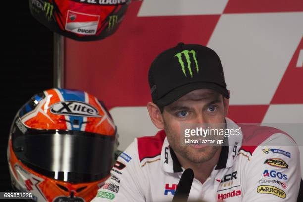 Cal Crutchlow of Great Britain and LCR Honda speaks during the press conference preevent during the MotoGP Netherlands Preview on June 22 2017 in...