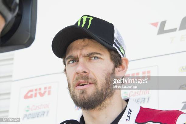 Cal Crutchlow of Great Britain and LCR Honda speaks with journalists during 2017 MotoGP preseason testing at Phillip Island Grand Prix Circuit on...