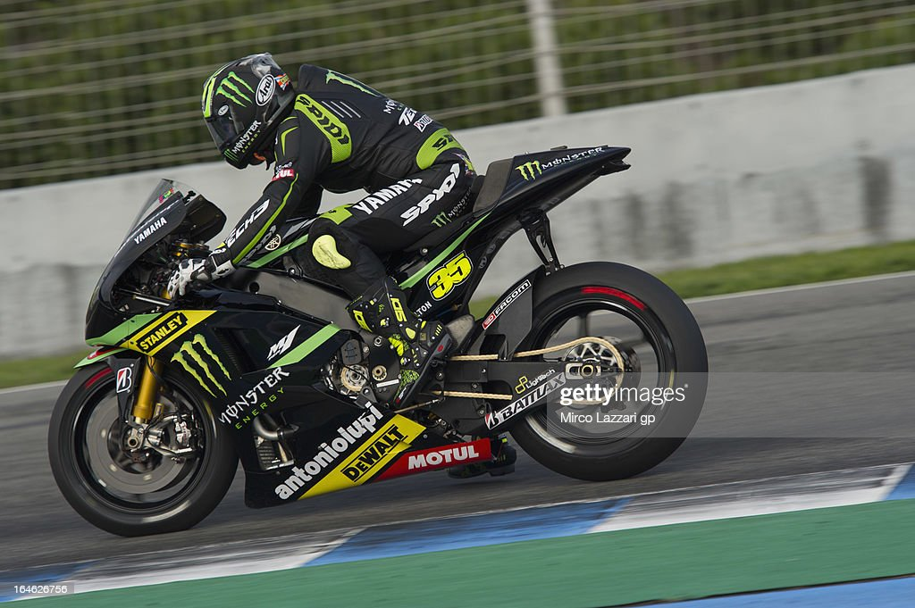 <a gi-track='captionPersonalityLinkClicked' href=/galleries/search?phrase=Cal+Crutchlow&family=editorial&specificpeople=4261131 ng-click='$event.stopPropagation()'>Cal Crutchlow</a> of Great Britain and Monster Yamaha Tech 3 heads down a straight during the MotoGP Tests In Jerez - Day 4 at Circuito de Jerez on March 25, 2013 in Jerez de la Frontera, Spain.