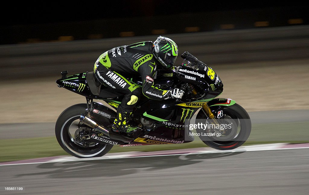 <a gi-track='captionPersonalityLinkClicked' href=/galleries/search?phrase=Cal+Crutchlow&family=editorial&specificpeople=4261131 ng-click='$event.stopPropagation()'>Cal Crutchlow</a> of Great Britain and Monster Yamaha Tech 3 heads down a straight during the MotoGp of Qatar - Qualifying at Losail Circuit on April 6, 2013 in Doha, Qatar.