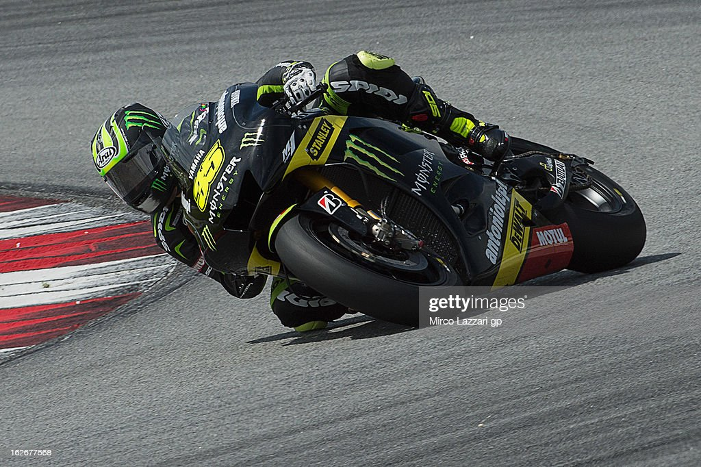 <a gi-track='captionPersonalityLinkClicked' href=/galleries/search?phrase=Cal+Crutchlow&family=editorial&specificpeople=4261131 ng-click='$event.stopPropagation()'>Cal Crutchlow</a> of Great Britain and Monster Yamaha Tech 3 rounds the bend during day one of MotoGP Tests at Sepang Circuit on February 26, 2013 in Kuala Lumpur, Malaysia.
