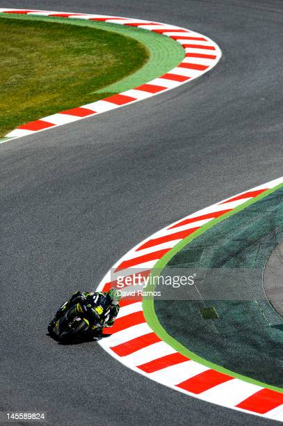 Cal Crutchlow of United Kingdom and Monster Yamaha Tech 3 Team rounds the bend during the qualifying at Circuit de Catalunya on June 2 2012 in...