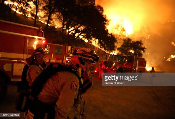 Cal Fire firefighters prepare to start a backfire operation ahead of the Rocky Fire on August 2 2015 near Clearlake California Over 1900 firefighters...