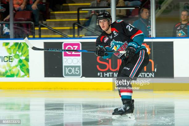 Cal Foote of the Kelowna Rockets passes the puck against the Victoria Royals at Prospera Place on October 4 2017 in Kelowna Canada Foote is the son...