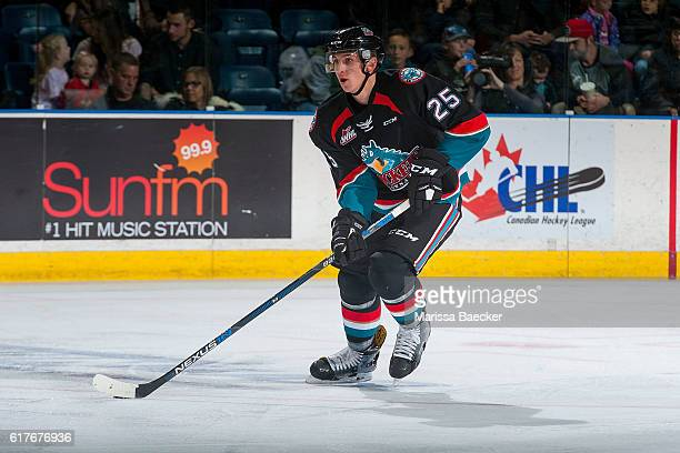 Cal Foote of the Kelowna Rockets skates with the puck against the TriCity Americans on October 21 2016 at Prospera Place in Kelowna British Columbia...
