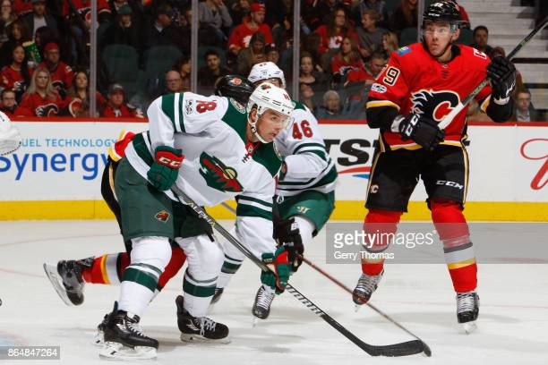 Cal OReilly of the Minnesota Wild in an NHL game against the Minnesota Wild at the Scotiabank Saddledome on October 21 2017 in Calgary Alberta Canada