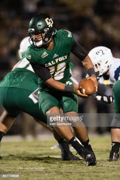 Cal Poly Mustangs quarterback Khaleel Jenkins looks to hand off the ball during the game between the Northern Arizona Lumberjacks and the Cal Poly...