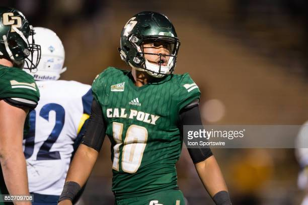 Cal Poly Mustangs quarterback Khaleel Jenkins looks to the bench after a play during the game between the Northern Arizona Lumberjacks and the Cal...