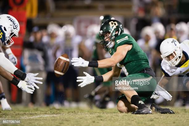 Cal Poly Mustangs wide receiver JJ Koski goes after a loose ball during the game between the Northern Arizona Lumberjacks and the Cal Poly Mustangs...