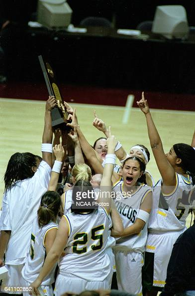 Cal Poly Pomona celebrate with the Division 2 trophy after defeating Southeastern Oklahoma State University during the NCAA Division 2 Women's...