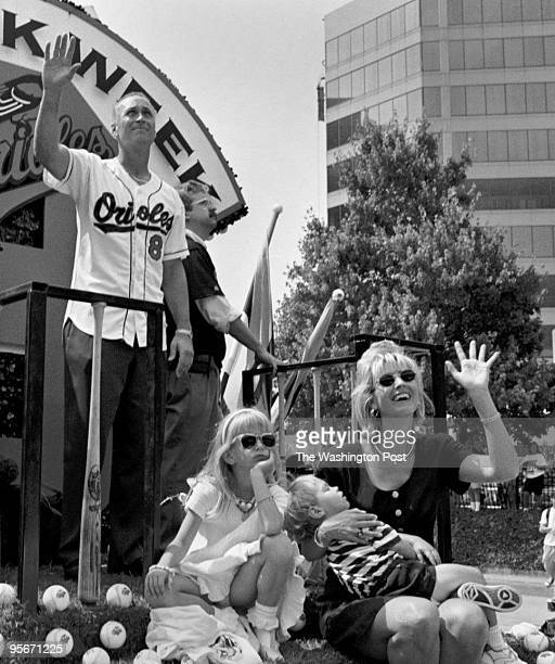 Cal Ripken his wife Kelly daughter Rachel and son Ryan are the center of attention during a noontime parade that wove through the downtown streets of...