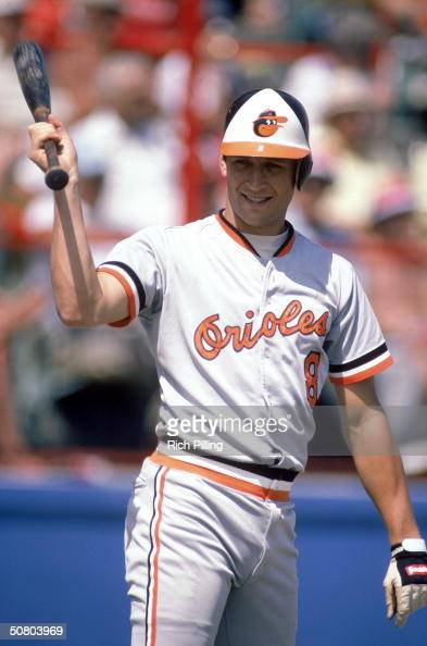 Cal Ripken Jr #8 of the Balimore Orioles stands with his bat during a 1984 season game