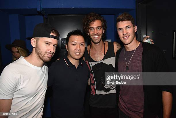 Cal Shapiro of Timeflies EVP/GM of Island Records Eric Wong Zac Barnett of American Authors and Rob Resnick of Timeflies pose backstage during the...