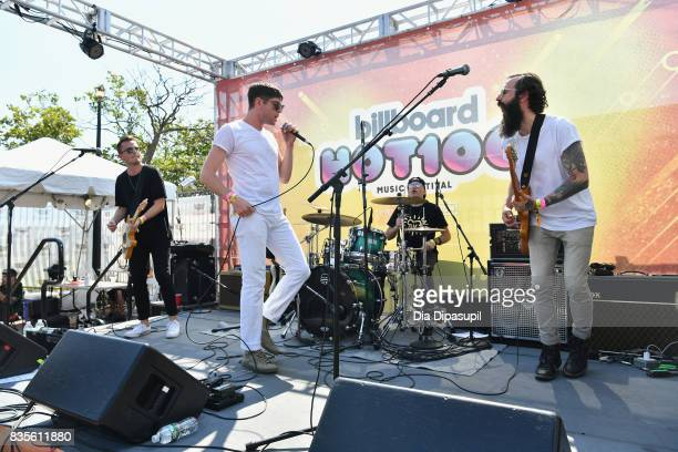 Cal Stamp Steve Cooper Ronen Evron and Paul Michael of Spirit Animal perform during Day One of 2017 Billboard Hot 100 Festival at Northwell Health at...