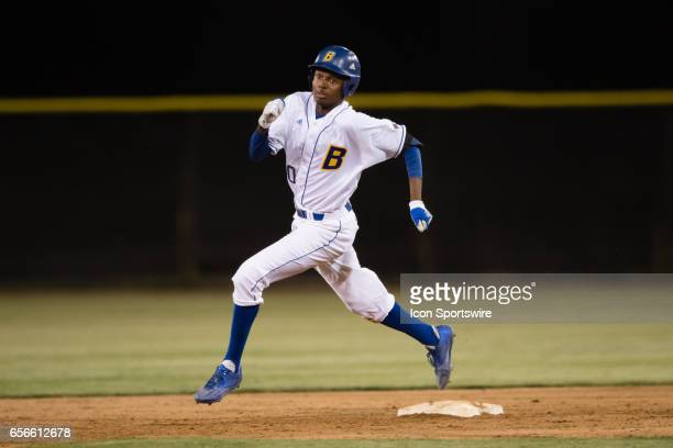 Cal State Bakersfield infielder Mahlik Jones rounds second base to go to third base after hitting a deep ball into the out field during the game...