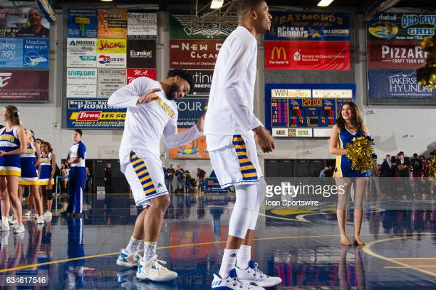 Cal State Bakersfield Roadrunners guard Justin Pride dances during the Cal State Bakersfield Roadrunners intro video during the game between the New...