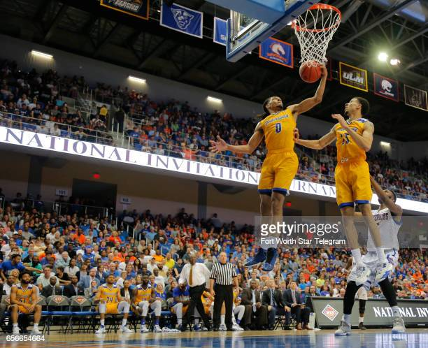 Cal State Bakersfield's Matt Smith gets a defensive rebound on a missed shot against TexasArlington in a National Invitation Tournament quarterfinal...