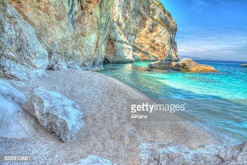 Cala Mariolu rocks by the sea : Stock Photo