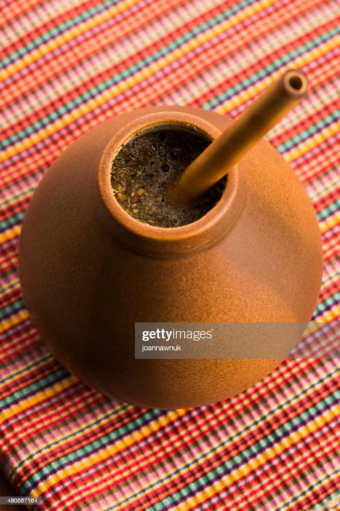 Calabash and bombilla with yerba mate : Stock Photo