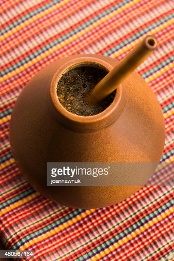 Calabash and bombilla with yerba mate : Stock Photo