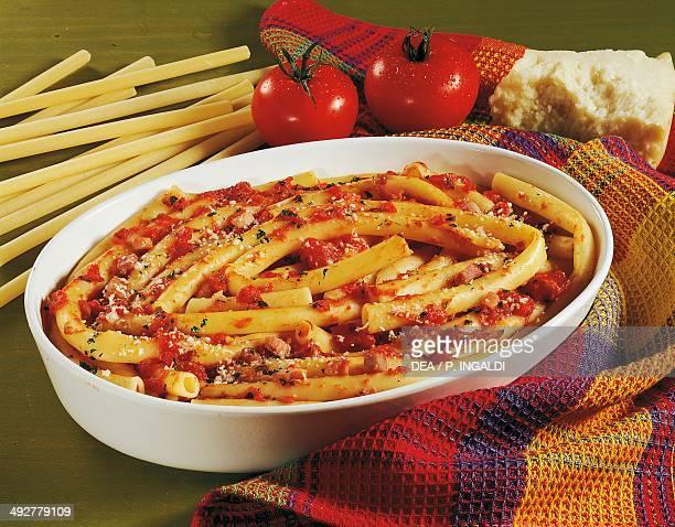 Calabrese maccheroni with tomatoes prosciutto crudo and pecorino Calabria Italy