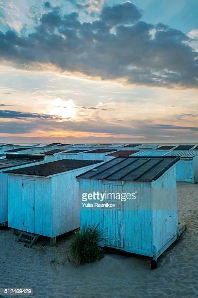 Calais beach huts at sunset