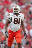 Calais Campbell of the Miami Hurricanes stands on the field during the game against the Maryland Terrapins at Byrd Stadium November 11 2006 in...