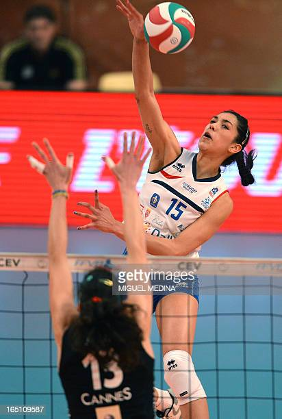 Calais' Maria Jose Perez Gonzalez jumps to spike during the Women French Championship volleyball final match Cannes vs Calais on March 30 2013 at the...