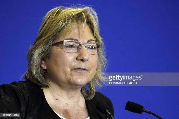 Calais' mayor Natacha Bouchard delivers a speech during a meeting of UMP's mayors on March 11 2015 in Paris AFP PHOTO / DOMINIQUE FAGET