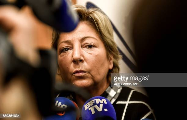 Calais' mayor Natacha Bouchart member of French rightwing party Les Republicains addresses media representative after a press conference on November...