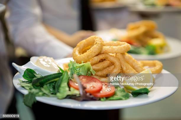 Calamari & salad dinner plate