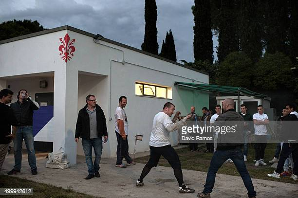 Calcianti of Santo Spirito Bianchi Team are seen before a training session at the Bianchi Headquarter on May 6 2013 in Florence Italy Calcio Storico...