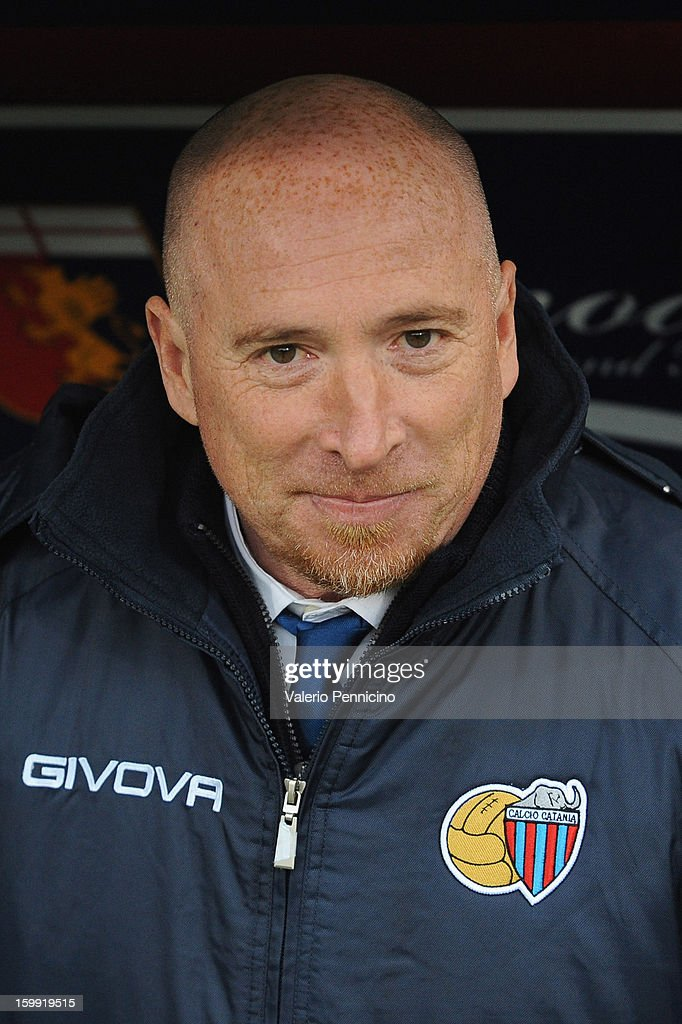 Calcio Catania head coach Rolando Maran looks on prior to the Serie A match between Genoa CFC and Calcio Catania at Stadio Luigi Ferraris on January 20, 2013 in Genoa, Italy.