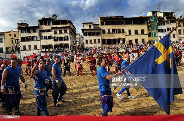 Calcio Storico The Florentine tradition is a dating back to the fifteenth tournament runs centuryThe With oven teams the Blues The Green The White...