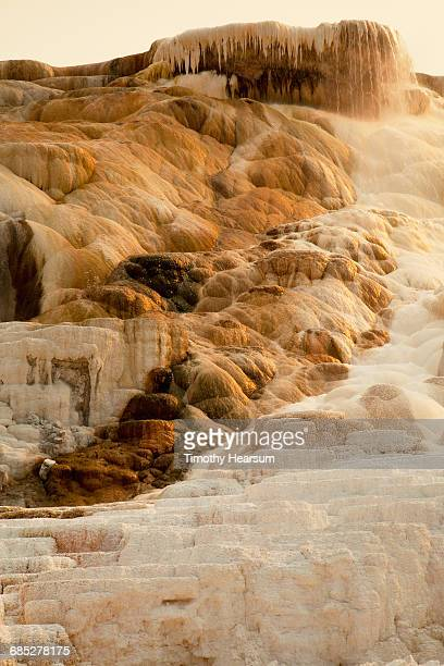 Calcium carbonate deposits on terraced hillside