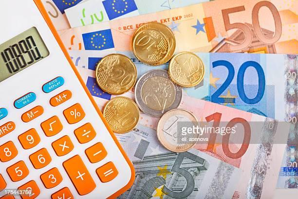 Calculator and Euro Bank Notes