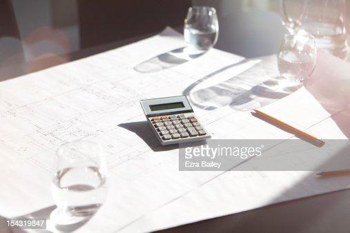 Calculator in modern office. : Stock Photo
