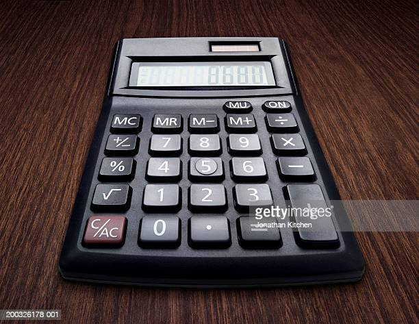 Calculator on table, close-up