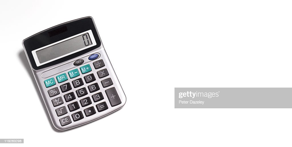 Calculator On White Background With Copy Space Stock Photo