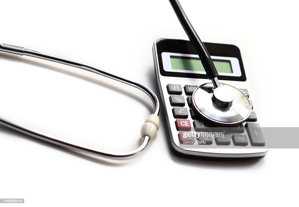 calculator stethoscope : Stock Photo