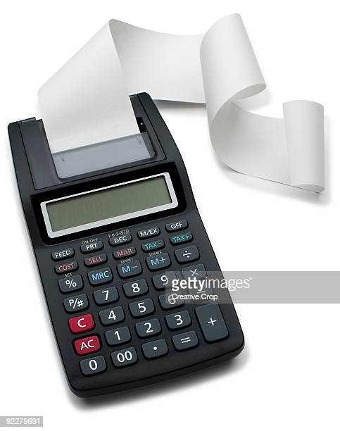 Calculator with scroll of receipt paper