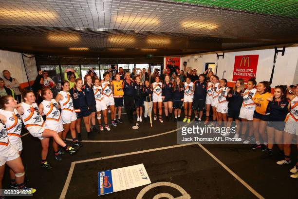Calder Cannons sing the club song after winning the TAC Cup Girls round five match between against the Bendigo Pioneers at RAMS Arena on April 14...