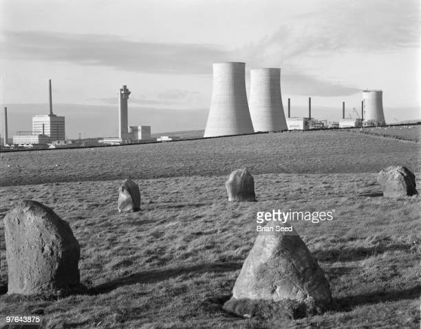 Calder Hall Sellafield Cumberland world's first nuclear power station shortly after its launch in 1956 In the foreground a ring of pudding stones The...